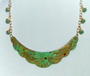 MARCIASTABLET - Etched, altered Necklace with topaz and faceted Czech rondelle accents