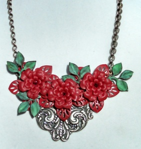 MARCIASTABLET - Red and Silver Assemblage Statement Necklace