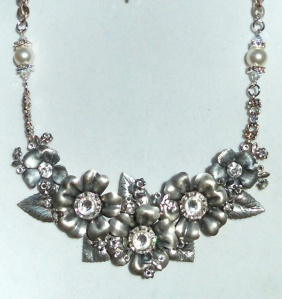 MARCIASTABLET - Silverware Silver and Crystal assemblage Statement Necklace.  Bridal and Formal