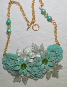 MARCIASTABLET - Winter Assemblage Necklace in Aqua and Silver and satin matte gold