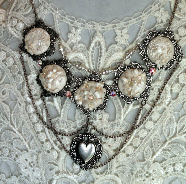 Polymer Clay Embroidery on Silverware Silver Bridal Necklace