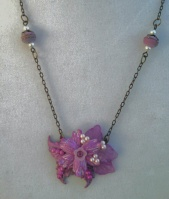 Pink lavender small assemblage necklace