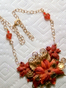 Orange red medium assemblage necklace