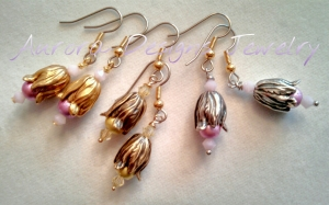 Natural finish earrings with Spectra beads and Swarovski crystals