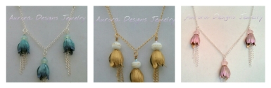 Three drop tulip beads with chain dangles