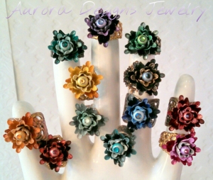 Ombre tulip bead rings