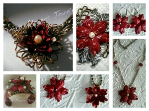 Part one of my Grand Parure in reds and antique silver