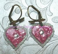 Iced Enamel and Ice Resin small heart earrings with a crystal accent, and bow lever backs ear wires.